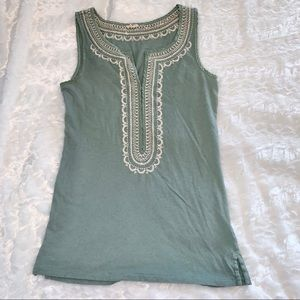 J.Crew silk embroidered tank